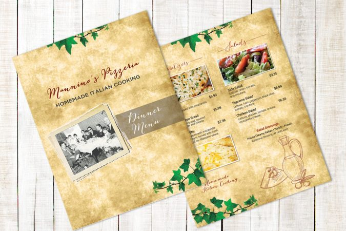 Manninos Menu Design