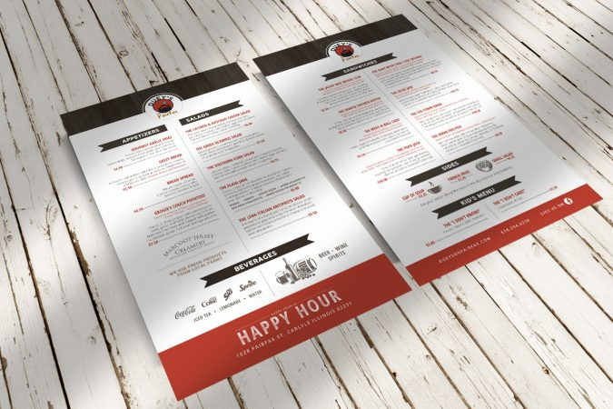 Duey's on Fairfax - Menu Design